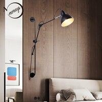 Новый реплики дизайнер Регулируемый винтаж промышленных длинные качели arm современный настенный светильник бра E27 огни для Ванная комната