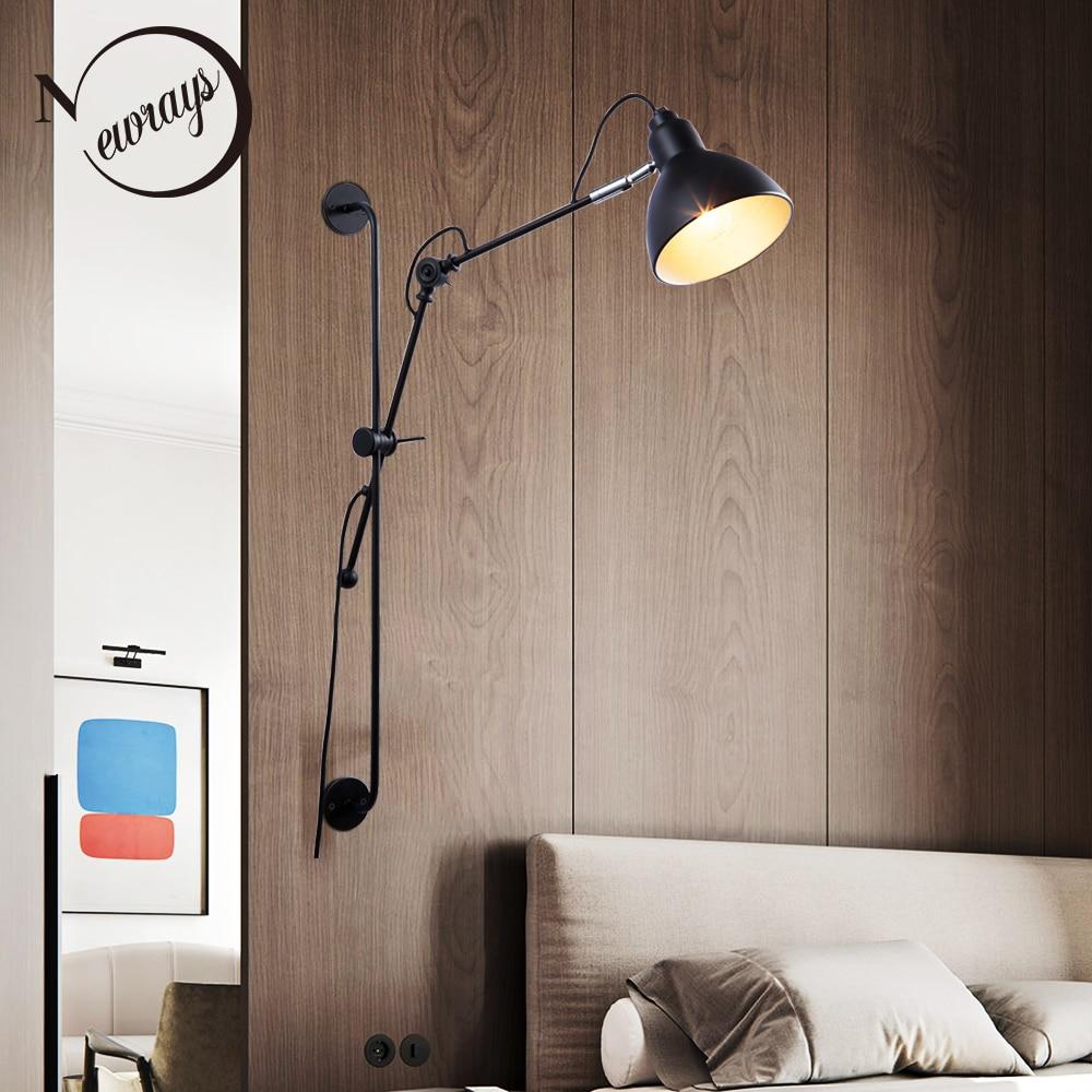 新レプリカデザイナー調節可能なヴィンテージ工業ロングスイングアーム現代の壁ランプ燭台 E27 ライト洗面化粧台器具  グループ上の ライト & 照明 からの ウォールランプ の中 1