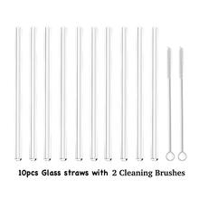 10PCS Glass Straws Clear Straight   Perfect Reusable Straw For Smoothies, Tea, Juice, Water, Essential Oils  With Cleaning Brush