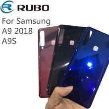 لسامسونج غالاكسي A9 2018 البطارية عودة زجاج غطاء الباب الخلفي الإسكان غطاء بديل لأجهزة السامسونج A9S غطاء البطارية الزجاج الخلفي