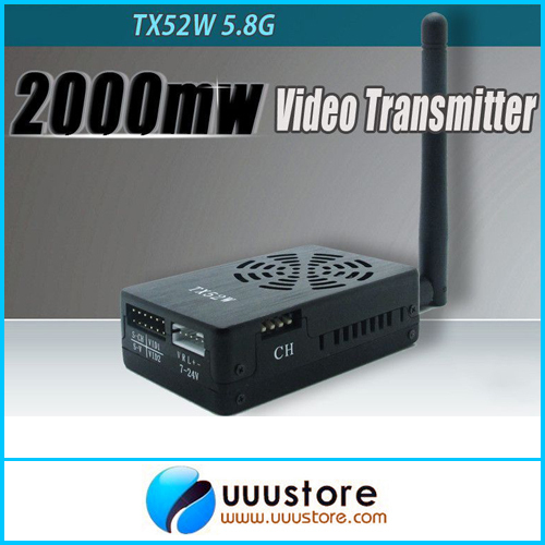 New FPV system Boscam TX52W 5.8Ghz 2000mW 8CH High Power wireless A/V Transmitter SMA PLUG Jack 10km fpv tx52w 5 8ghz 2000mw 8 channels high power wireless a v transmitter sma plug jack