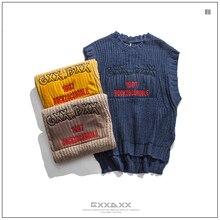 Men Loose Casual Embroidery Sleeveless Sweaters Streetwear Hop Hop Pullovers Knitwear Male Knitted Vest Fashion Waistcoat