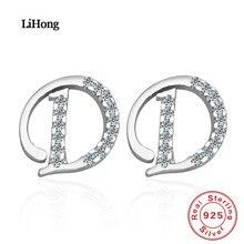 New Design 100% 925 Silver Earrings Fashion Letter AAA Zircon Crystal Stud Women Jewelry Wholesale