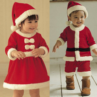 Baby Clothing Set Santa Clause Cosplay Costume Long Sleeve Girls Christmas Party Dress with Hat Boys Winter Clothes baby kleding