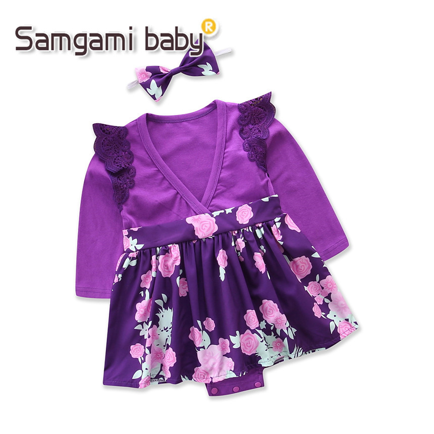 8b1d990a74 SAMGAMI BABY Girl Floral Clothing Purple Long Sleeve Jumpsuits+headband  2pcs Girls Clothes Infant V