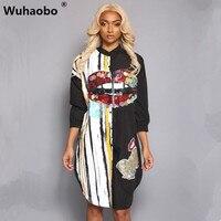 Wuhaobo מותג חדש יופי גבירותיי רקמה עם חרוזים מיוחדים שמלת חולצה אופנה נשים סקסית שרוול ארוך שמלות מקרית Loose