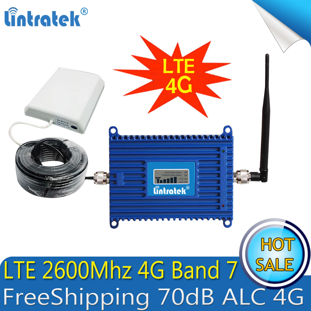 FreeShipping 4G LTE 2600mhz ALC Mobile Phone Signal Amplifier 70dB 4G Internet Cell Phone Cellular Booster Repeater 4G Antenna