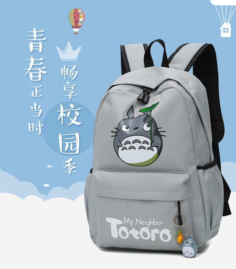 Canvas Backpacks Travel-Bag Totoro Cartoon Teenagers for Printing Cute