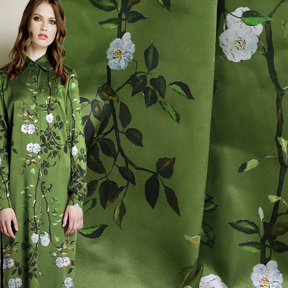 Digital Printing Green Tree Elastic Silk Satin Fabric 19m m 108cm