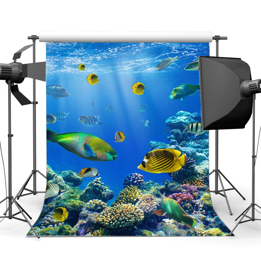 Underwater World Backdrop Aquarium Fancy Coral Colorful Fish Blue Sea Sunshine Lights Summer Sea Journey Background-in Photo Studio Accessories from Consumer Electronics