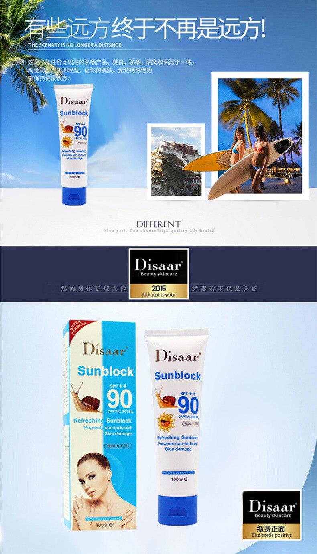 Улиточный солнцезащитный крем 100 мл, защитный крем для лица Disaar Sunblock 90++ защитный крем для пигментации SPF