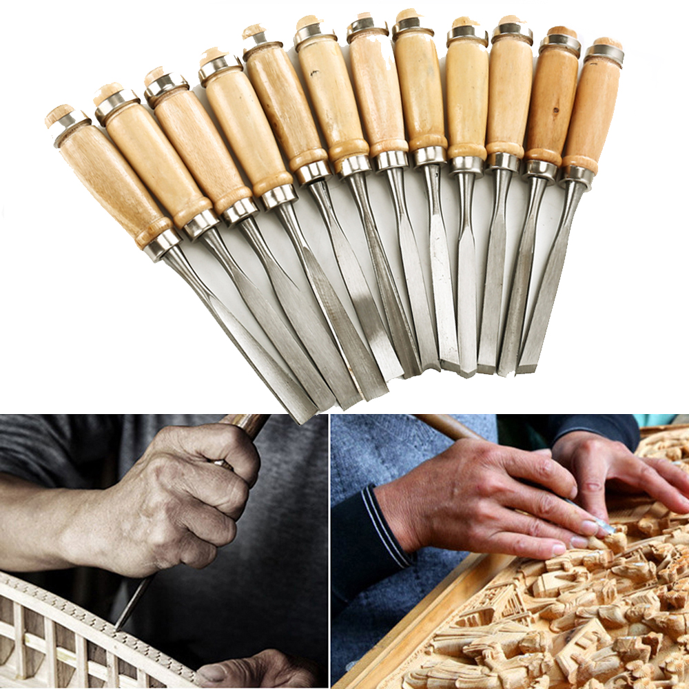 12PCS Assorted Wood Working Carving Chisels Tools Skew Sculpting Tool Set Wood Carving Tools Chisel set Knives 25pcs clay tools modeling tools sculpting tools sculpture tools for pottery sculpture fondant cake decorating