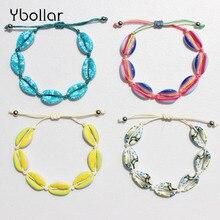 Handmade Colorful Alloy Shell Bracelet Rope String Braided Women Beaded Strand Bracelet Bangles Summer Beach Jewelry braided strand bracelet watch