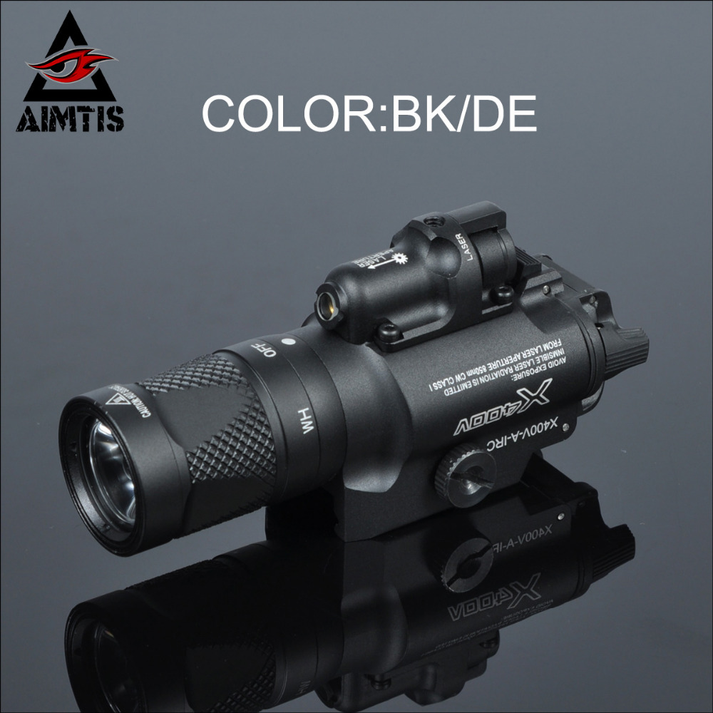AIMTIS Tactical X400V Pistol Light Combo Red Laser Constant / Momentary / Strobe Output Weapon Rifle Gun Flashlight aimtis tactical laser flashlight sbal pl hunting weapon light combo red laser pistol constant