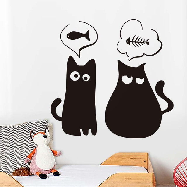 thin and fat cat cute animal cat wall stickers pet shop pokemon wall