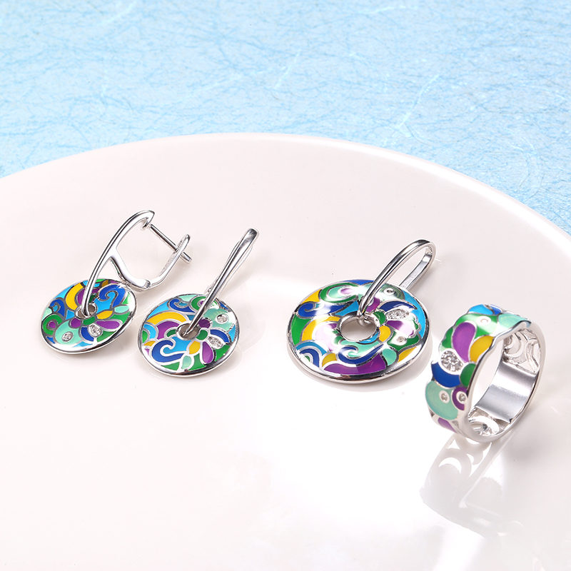 Enamel Silver Stub Earrings Pendant Ring Jewelry Sets  For Women Engagement Jewelry Set Original 925 Sterling Silver Earrings
