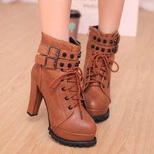 2 Colors women s High Heels Pumps Platform Ankel Boots Fashion Rivet Martin Boots For Spring