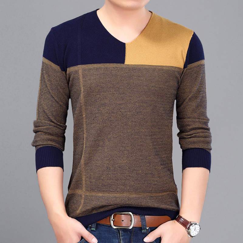 New Casual Computer Knitted V-neck Color Patchwork Mens Pullover Sweaters 2017 Fashion Sweater Male Size M~3xL