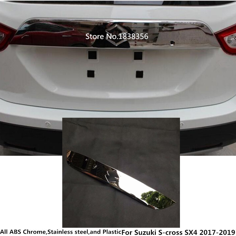 Car Styling Rear Back Bumper Cover Wrap License Trim Frame Lamp Panel For <font><b>Suzuki</b></font> S-Cross Scross <font><b>SX4</b></font> 2017 <font><b>2018</b></font> 2019 2020 image