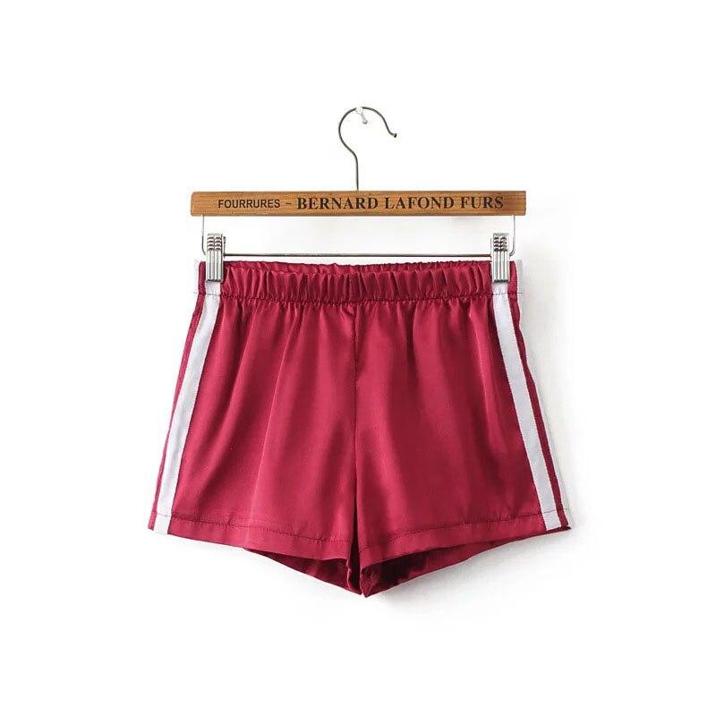 Europe Style Casual Pink Elastic Waist   Shorts   Women New Arrival Summer Fashion White Border High Waist   Shorts   Feminino