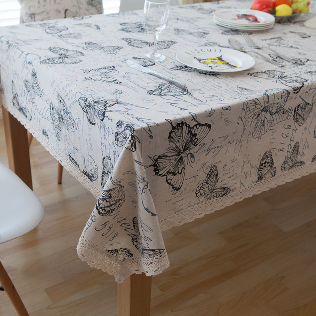 aeb2670577 Pastoral Linen Tableclothes Butterfly Table Cloth Print Dining Table Cover  Kitchen Home Textile Home decor toalha De Mesa Brand