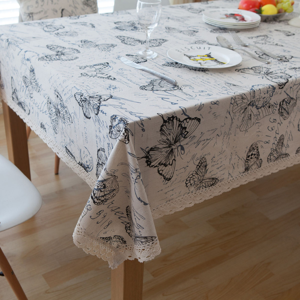 Pastoral Linen Tableclothes Butterfly Font