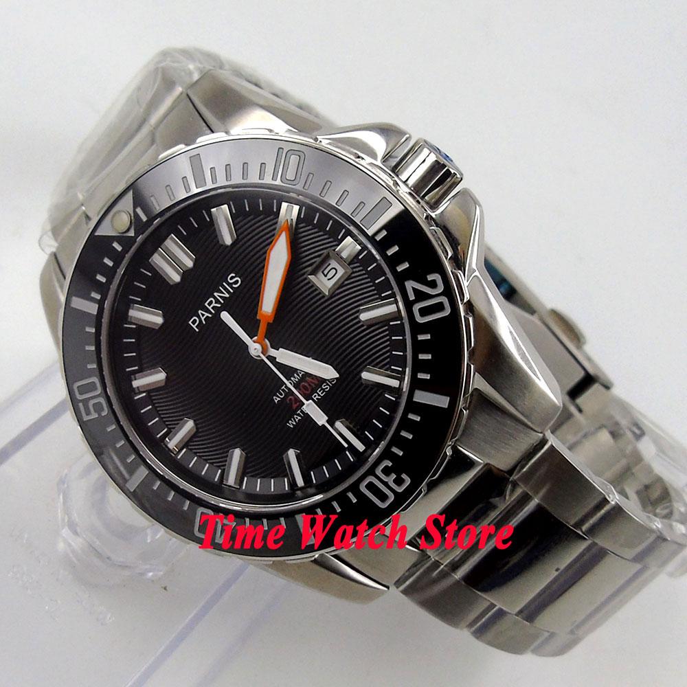 Prix pour Parnis montre 43mm cadran Noir bracelet En Acier Inoxydable verre Saphir Lunette En Céramique Diver Automatique mouvement Hommes de montre 473
