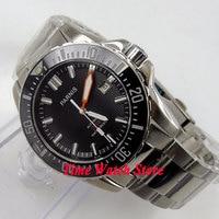 Solid 43mm PARNIS watch Diver watch Sapphire glass Ceramic Bezel black dial luminous Automatic movement Men's watch 473