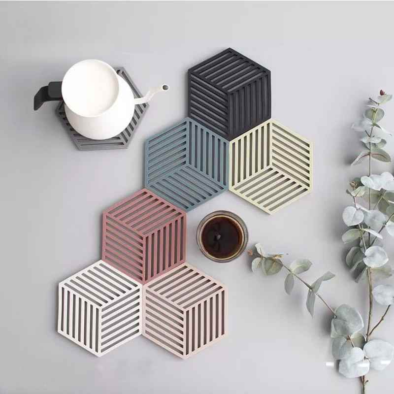 Nordic hexagonal geométrica simples de silicone de alta temperatura anti-scalding tigela pote almofada da esteira do coaster mat cozinha do agregado familiar