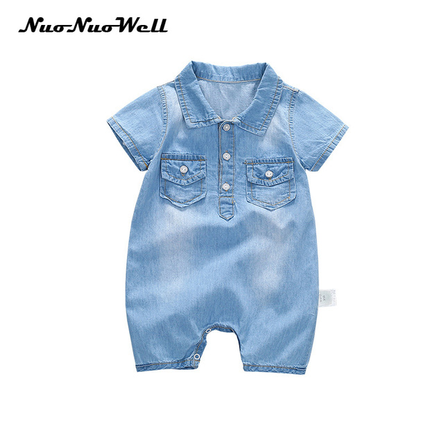 eec457989 2018 Summer hot baby boys and girls rompers Cotton soft denim ...