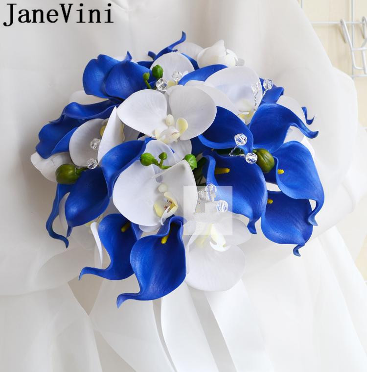 JaneVini Royal Blue Flowers Wedding Bouquet Brooches With Crystals Bride Artificial White Calla Lily Bridal Bouquet Boutonniere