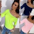 Estilo Occidental de la manera Del Caramelo de color fluorescente de Algodón Camiseta superior femenina suéter de cuello Slash 3/4 La Manga Del Hombro Sólido E233