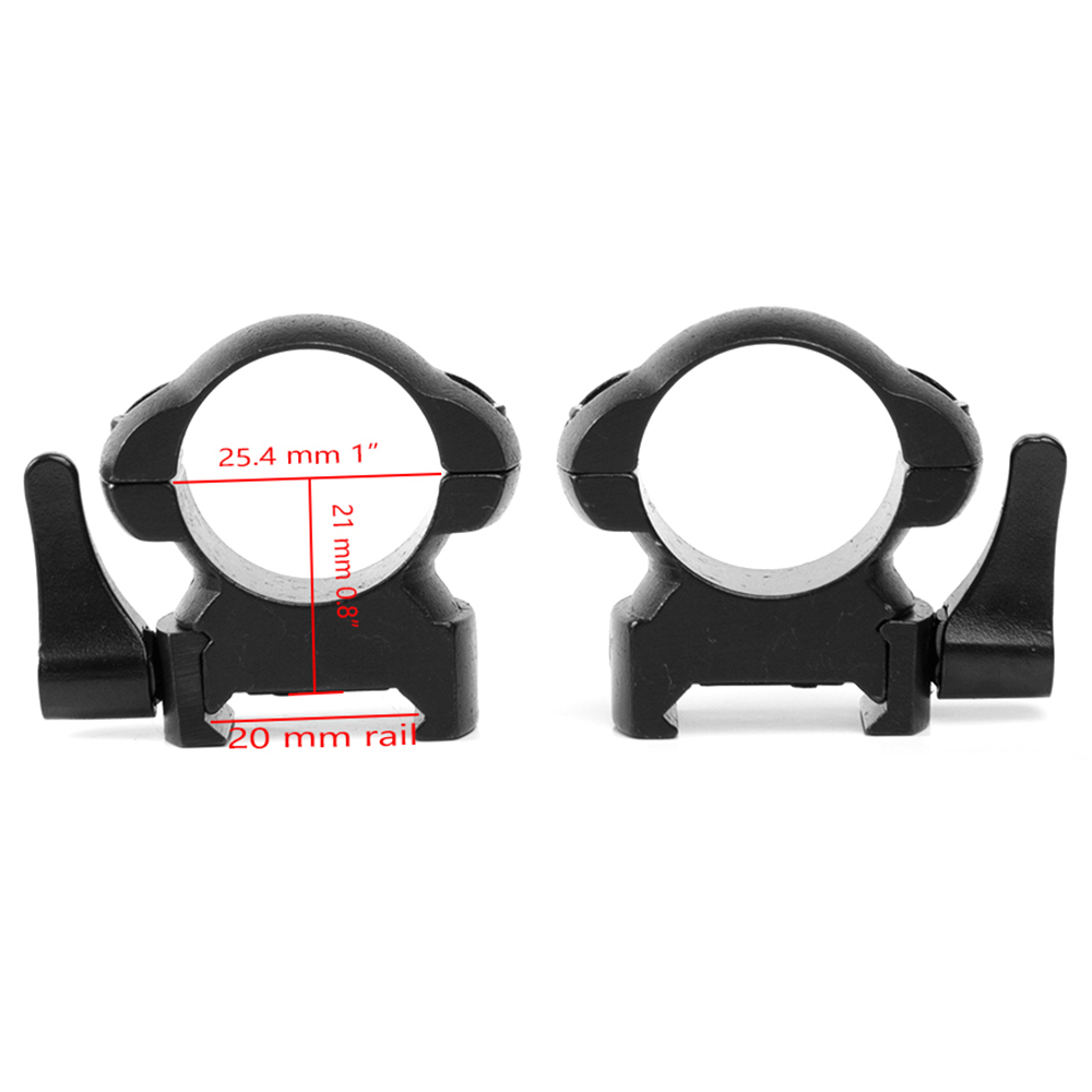 2Pcs /Set Tactical Rifle Quick Release Picatinny Steel Weaver Mount 25.4MM Low Medium Profile Quick Detach Mount Scope Rings