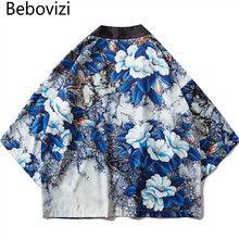 Bebovizi Japanese Style Flower Full Printed Kimono Jackets 2019 Mens Harajuku Streetwear Japan Jacket Coat Loose Thin Robe