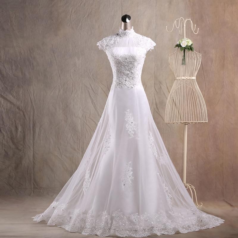 Satin Mermaid Wedding Gown: JAEDEN Mermaid High Neck Wedding Dresses Appliques Lace