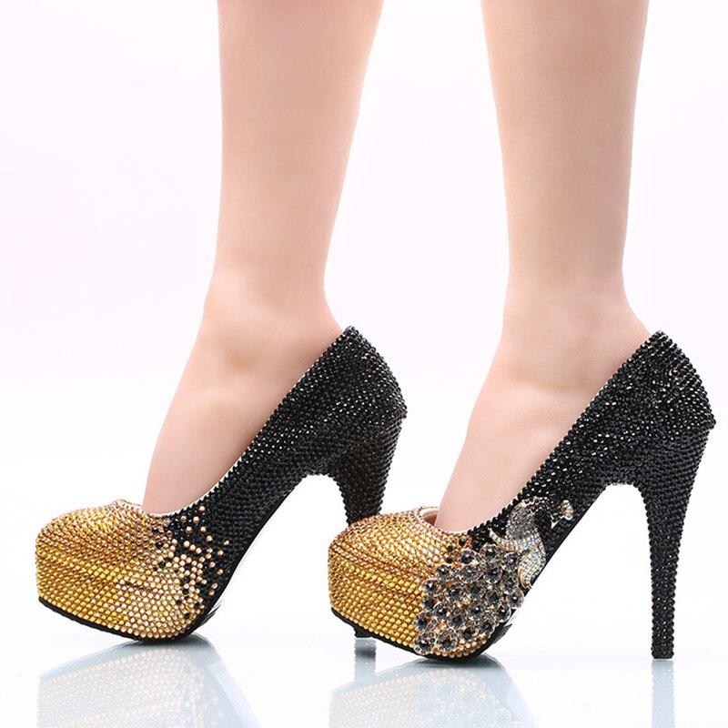 Chaussures 8cm La 14cm Mariage Noce Stiletto black Heels Noir 11cm Est Phoenix De Femmes Black Avec Or Arrivé Strass Pompes Nouveau Mariée Heels 5cm T1Z68x