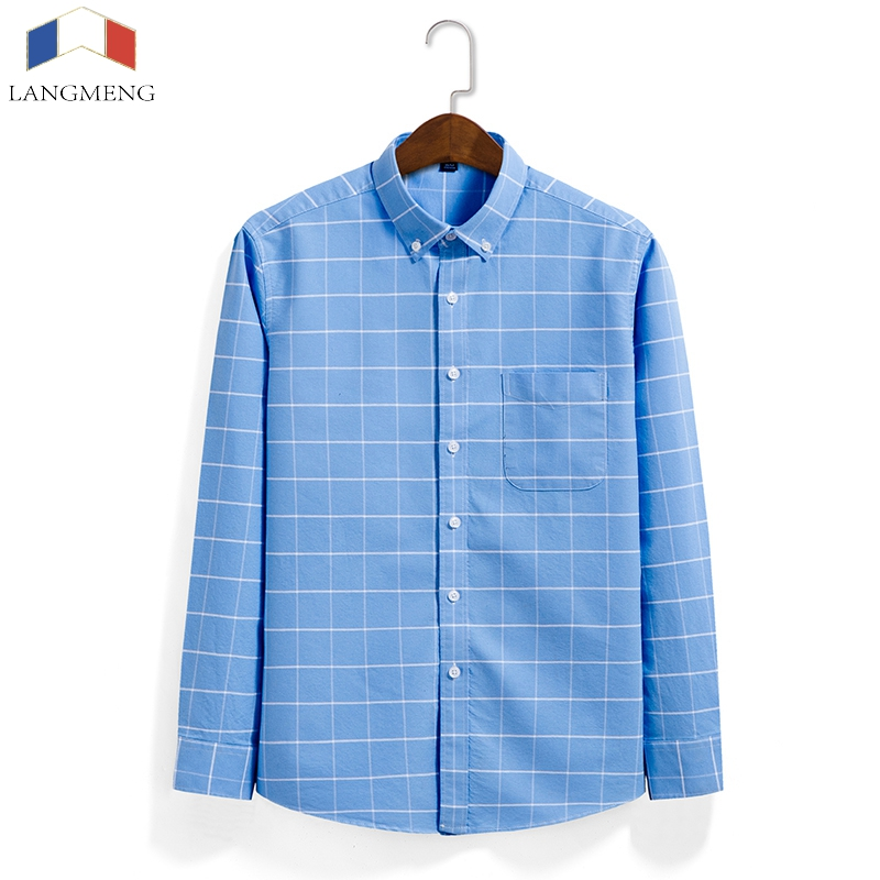 Langmeng New Arrival long sleeve casual shirt men brand clothing fashion plaid shirt male top quality 100% cotton shirt