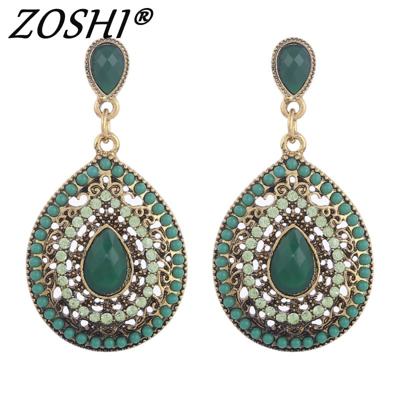 Fashion Brincos New Drop Earrings For Women Ethnic Vintage Multicolor Bead Large Bohemia Dangle Earrings Statement Jewelry