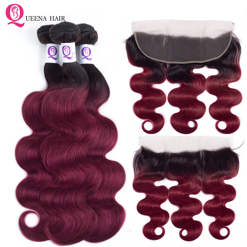 Ombre Bundles With Frontal 1B Burgundy 13X4 Lace Frontal Closure With Bundles Remy Malaysian Hair Body Wave Bundles With Frontal