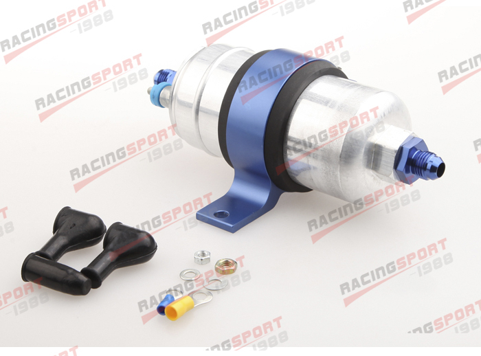 External Fuel Pump 044 for Bosch+Billet Bracket Black+8AN Inlet 10AN Outlet BlueExternal Fuel Pump 044 for Bosch+Billet Bracket Black+8AN Inlet 10AN Outlet Blue