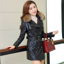 2016 elegant women winter leather trench coat with fur collar plus size 3XL fashion women PU leather winter coat long black red