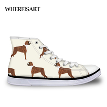WHEREISART Mens Vulcanized Shoe 3D Boxer Dog Print Flats Man
