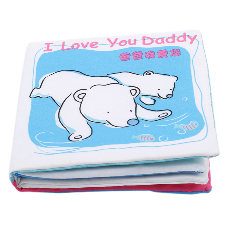 Baby Stories Crinkle Soft Fun Cloth Books I Love <font><b>Papa</b></font> <font><b>Mama</b></font> Brother Dog Bear Children Baby Cute Educational <font><b>Toys</b></font> image