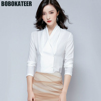 BOBOKATEER Formal Office Shirt White Chiffon Blouse Women Blouses Ladies Long Sleeve Top Womens Tops And