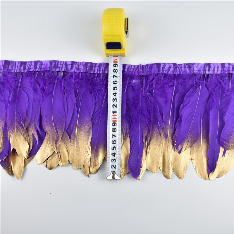 Wholesale 15-20CM Gold Dipped Purple Goose Feathers Trims Fringe Ribbons Feather For Craft Dress Skirt Cloth Belt Clothing Plume