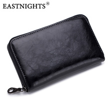 EASTNIGHTS genuine leather wallet men long clutch wallets women money FRID Credit Card Holder Travel Passport Purse