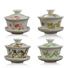4 стиля белый фарфор OGai Wan с узором ручной работы чайный набор