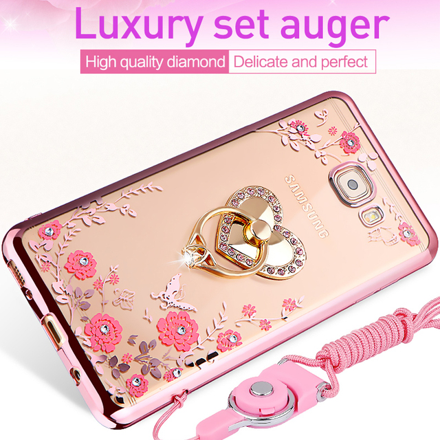 hot sale online 682b6 7a4fe US $1.89 5% OFF|For Samsung Galaxy J6 j4 J3 2018 case, luxury bling diamond  Plating TPU back cover for Samsung J120 J120F cases + Ring +strap-in ...