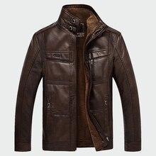купить!  Мужские кожаные куртки зимние теплые флисовые пальто Толстая верхняя одежда молния мотоцикл мужско�