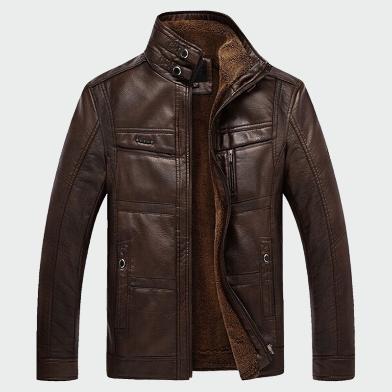 Men's Leather Jackets Winter Warm Fleece Coats Thick Outerwear Zipper Motorcycle Male Jacket Mens Brand Clothing M-5XL ML003